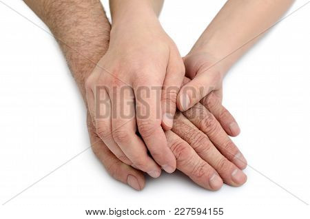Hands Of Young Woman Hold Hands Of An Old Man