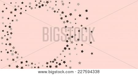 Starry Background. Abstract Brown And Gray Star Confetti On A Pale Pink Background. Element For Desi