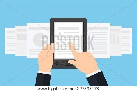 Holding Ebook Reader In Hands. Using E-book, Vector Illustration