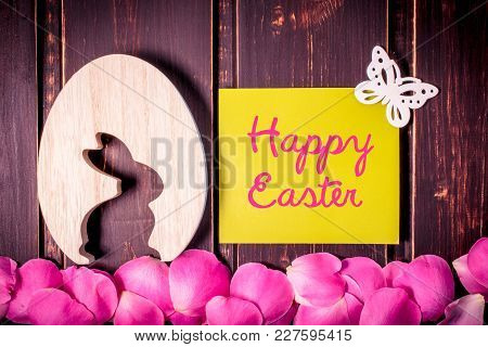 Blank Green Mockup Card With Copy Space, Rabbits, Butterfly And Rose Leaves On Wooden Background. Sa