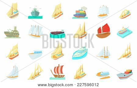 Ship Icon Set. Cartoon Set Of Ship Vector Icons For Web Design Isolated On White Background