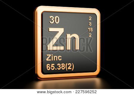 Zinc Zn, Chemical Element. 3d Rendering Isolated On Black Background