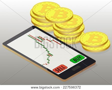 Coins Bitcoin To The Right Of The Phone, Online Buying Of Bitcoin On The Exchange