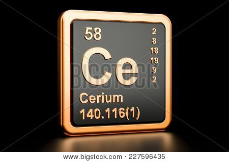 Cerium Ce, Chemical Element. 3d Rendering Isolated On Black Background