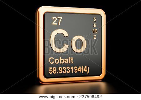 Cobalt Co, Chemical Element. 3d Rendering Isolated On Black Background