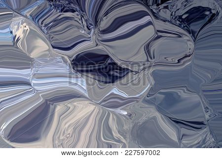 Rippled Tones Of Blue And Grey Create Satin Effect Textured Background