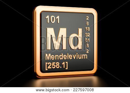 Mendelevium Md, Chemical Element. 3d Rendering Isolated On Black Background