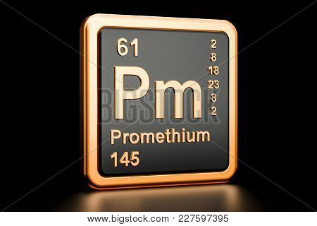 Promethium Pm, Chemical Element. 3d Rendering Isolated On Black Background