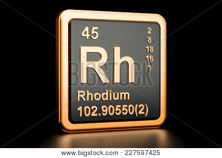 Rhodium Rh Chemical Element, 3d Rendering Isolated On Black Background