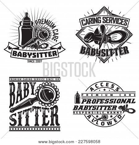 Set Of Vintage Logo Graphic Designs, Print Stamps, Babysitter Typography Emblems, Creative Design, V