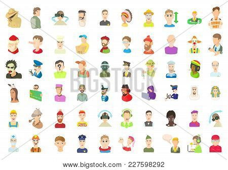 Men Avatar Icon Set. Cartoon Set Of Men Avatar Vector Icons For Web Design Isolated On White Backgro
