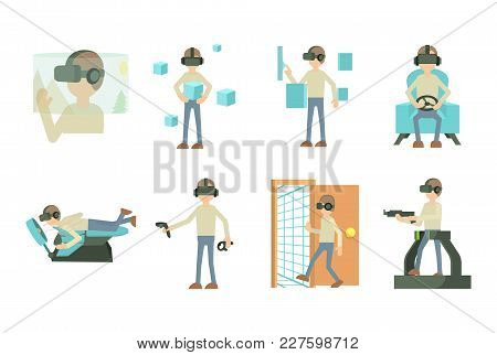 Man 3d Game Icon Set. Cartoon Set Of Man 3d Game Vector Icons For Web Design Isolated On White Backg