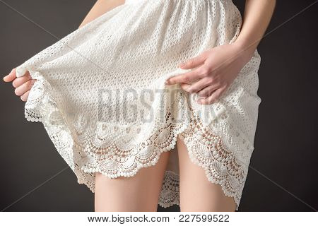 Partial View Of Sensual Girl Posing In Lace Dress, Isolated On Grey