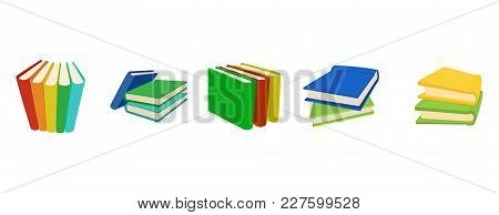 Book Group Icon Set. Cartoon Set Of Book Group Vector Icons For Web Design Isolated On White Backgro