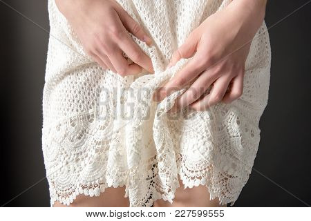 Close Up View Of Sensual Girl In White Lace Dress, Isolated On Grey