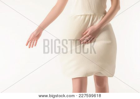 Partial View Of Girl In Elegant White Dress, Isolated On White