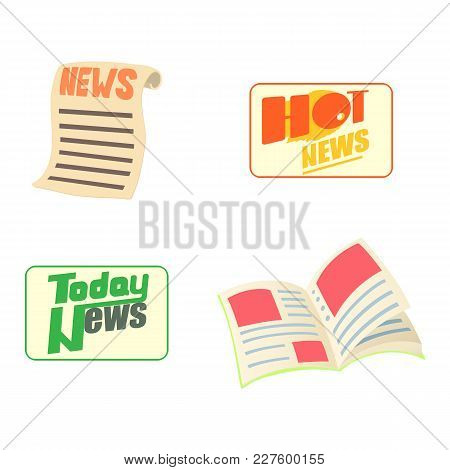 News Icon Set. Cartoon Set Of News Vector Icons For Web Design Isolated On White Background