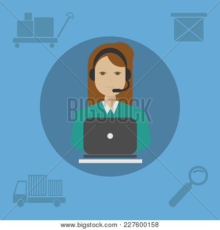 A Bank Teller With Earphones On A Blue Background. An Office Worker Or Businesswoman Working On A Co