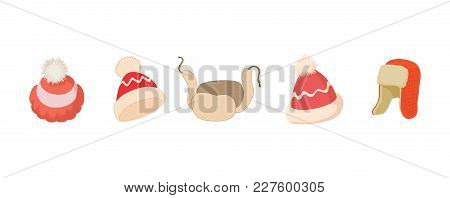 Winter Hat Icon Set. Cartoon Set Of Winter Hat Vector Icons For Web Design Isolated On White Backgro