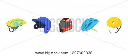 Sport Helmet Icon Set. Cartoon Set Of Sport Helmet Vector Icons For Web Design Isolated On White Bac