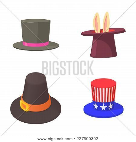 Top Hat Icon Set. Cartoon Set Of Top Hat Vector Icons For Web Design Isolated On White Background