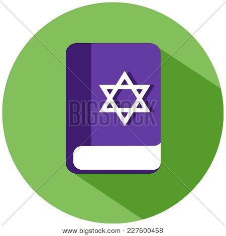Realistic Book With A Star Of David Icon. A Purple Book In A Green Circle, Isolated On A White Backg