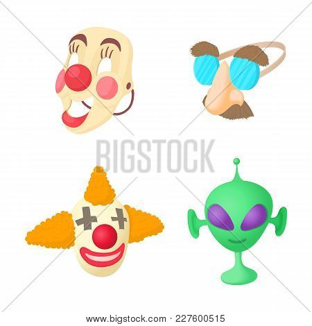 Clown Mask Icon Set. Cartoon Set Of Clown Mask Vector Icons For Web Design Isolated On White Backgro