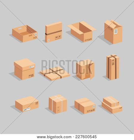 A Lot Of Brown Open And Closed Boxes On A Grey Background. Carton Delivery Packaging Open And Closed