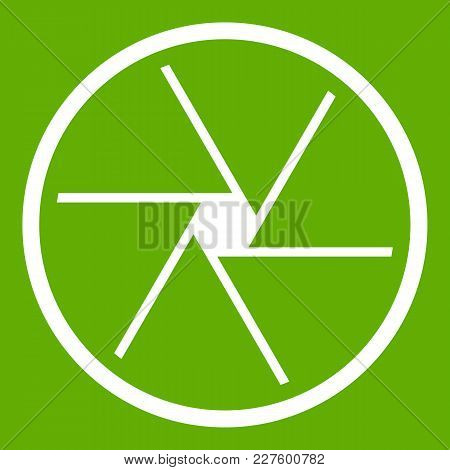 Round Objective Icon White Isolated On Green Background. Vector Illustration