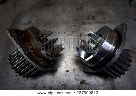 A Water Circulation Pump In A Car Engine