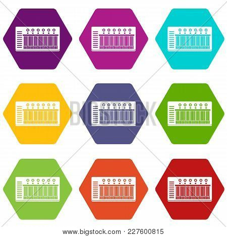 Electronic Synth Icon Set Many Color Hexahedron Isolated On White Vector Illustration