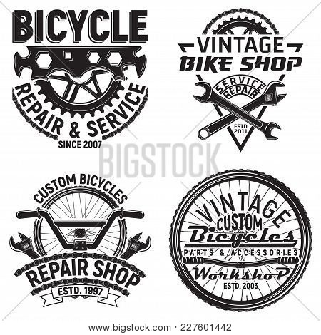 Set Of Vintage Bicycles Club Logo Designs,  Downhill Bikers Grange Print Stamps, Bicycles Repair Sho