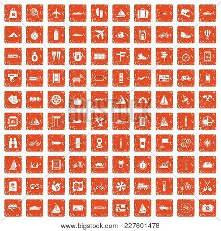 100 Voyage Icons Set In Grunge Style Orange Color Isolated On White Background Vector Illustration
