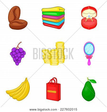 Commerce Icons Set. Cartoon Set Of 9 Commerce Vector Icons For Web Isolated On White Background