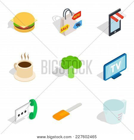 Retail Icons Set. Isometric Set Of 9 Retail Vector Icons For Web Isolated On White Background