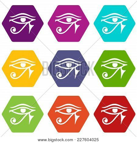 Eye Of Horus Egypt Deity Icon Set Many Color Hexahedron Isolated On White Vector Illustration