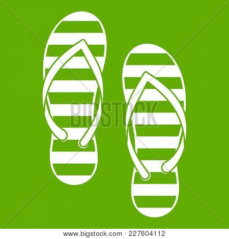 Flip Flop Icon White Isolated On Green Background. Vector Illustration
