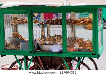 Traditional Street Food Of Sri Lanka - Chickpea With Coconut, Small Fried Fish, Vegetable Patties, D