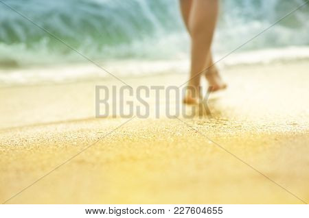 Blurred Photo With Shallow Depth Of Field. Vacation Holidays Background  - Silhouette Of Sunburnt Le