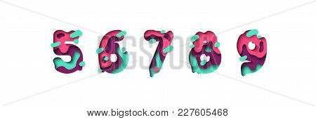 Paper Cut Number Five, Six, Seven, Eight, Nine, Figure 5, 6, 7, 8, 9. Design 3d Sign Isolated On Whi