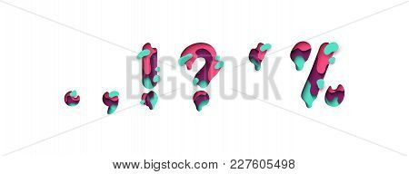 Punctuation Marks Comma Point, An Exclamation And Interrogative, Sing Question. Design 3d Sign Isola