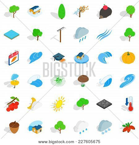 Natural Land Icons Set. Isometric Set Of 36 Natural Land Vector Icons For Web Isolated On White Back