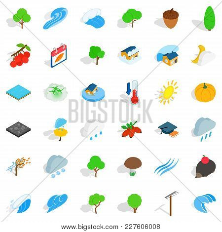 Beautiful Land Icons Set. Isometric Set Of 36 Beautiful Land Vector Icons For Web Isolated On White