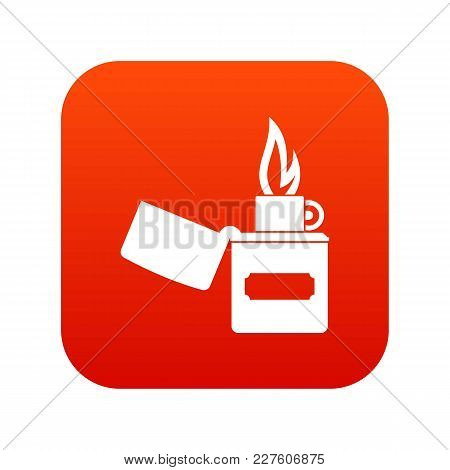 Lighter Icon Digital Red For Any Design Isolated On White Vector Illustration