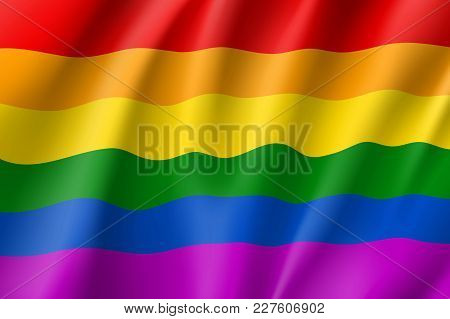 Rainbow Waving Flag Movement Lgbt, Realistic Icon. Symbol Of Sexual Minorities, Gays And Lesbians. V