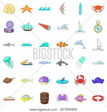 Offshore Icons Set. Cartoon Set Of 36 Offshore Vector Icons For Web Isolated On White Background