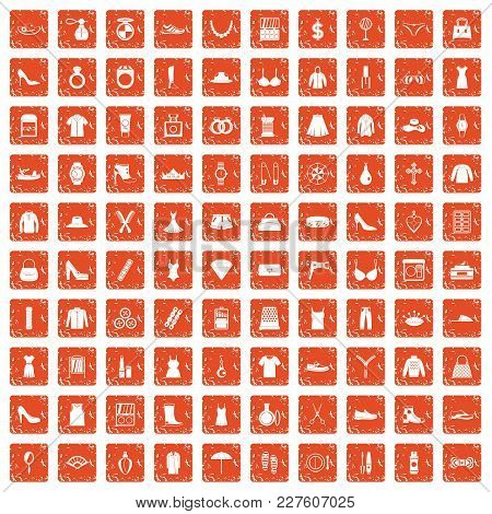 100 Womens Accessories Icons Set In Grunge Style Orange Color Isolated On White Background Vector Il