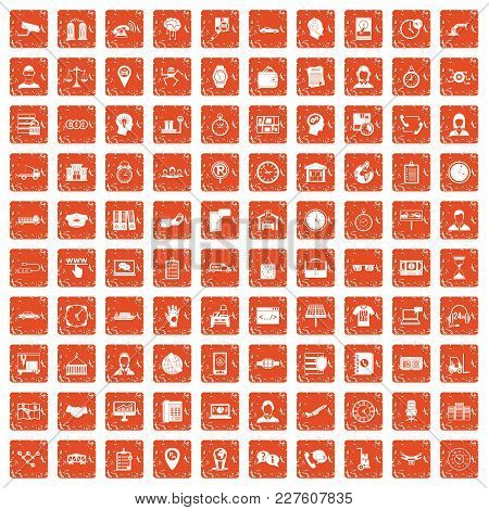 100 Working Hours Icons Set In Grunge Style Orange Color Isolated On White Background Vector Illustr