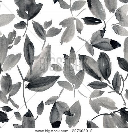 Watercolor And Ink Illustration Of Tree With Leaves. Sumi-e, U-sin Painting. Seamless Pattern.
