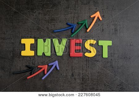 Stock Market Or Asset Investment Concept, Arrows Pointing Up As Chart With Colorful Letters Word Inv
